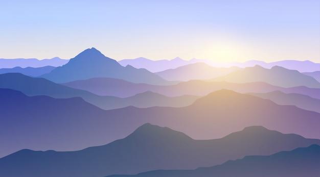 朝の山脈の風景
