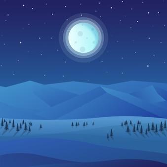木々や満月の夜の美しい自然の景色