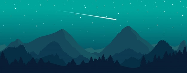 美しい夜の星空とベクトル山と森の風景