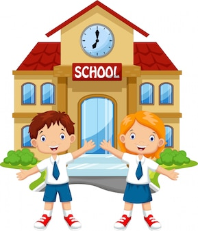 校舎前の小学生