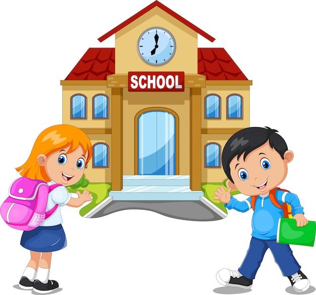 Мальчик и девочка идут в школу