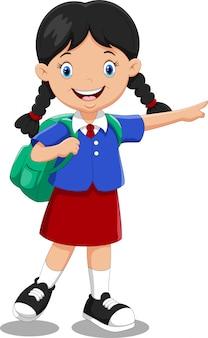 Милый мультфильм школьница с рюкзаком