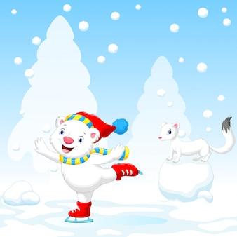 Иллюстрация милый белый медведь на коньках
