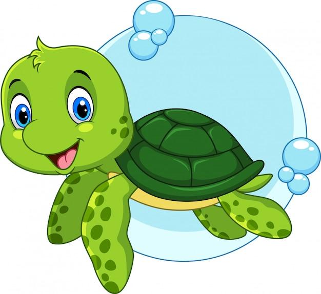 Милый мультфильм морская черепаха