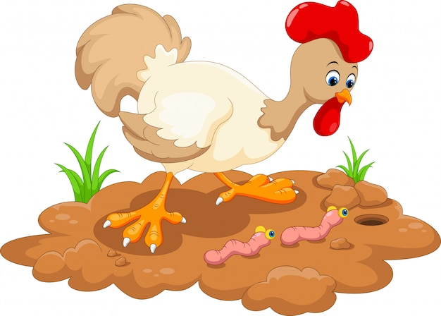 Курица и два червя