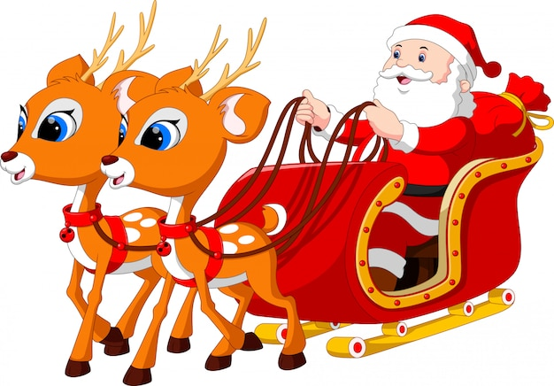Санта-клаус катается на санях, запряженных оленями