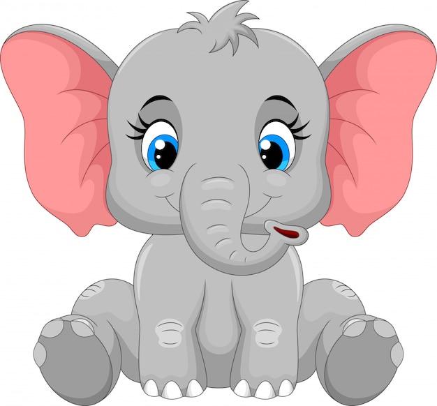 Милый слоненок сидит