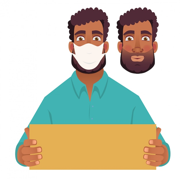 空白のカードを保持しているマスクのアフリカ人
