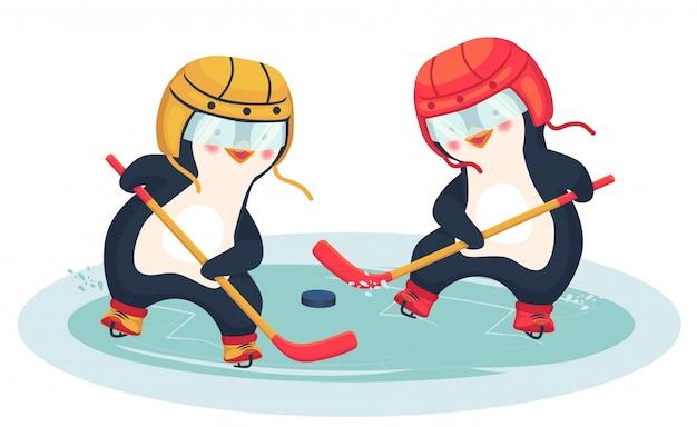 Пингвин играет в хоккей зимой