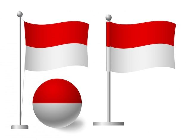 Флаг индонезии на значок полюса и мяча