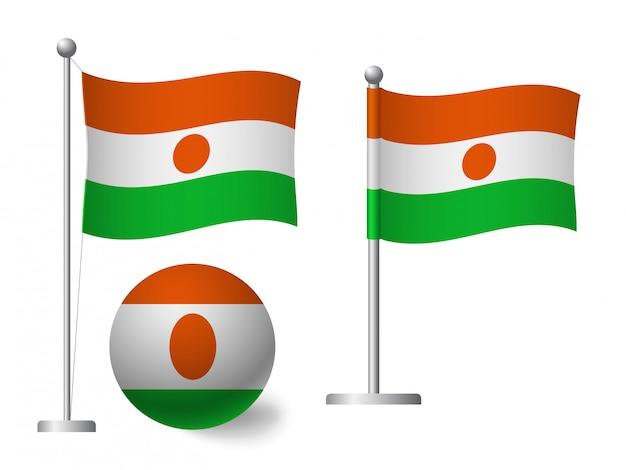 ポールとボールのアイコンにニジェールの国旗