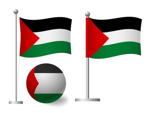 ポールとボールのアイコンにパレスチナの旗
