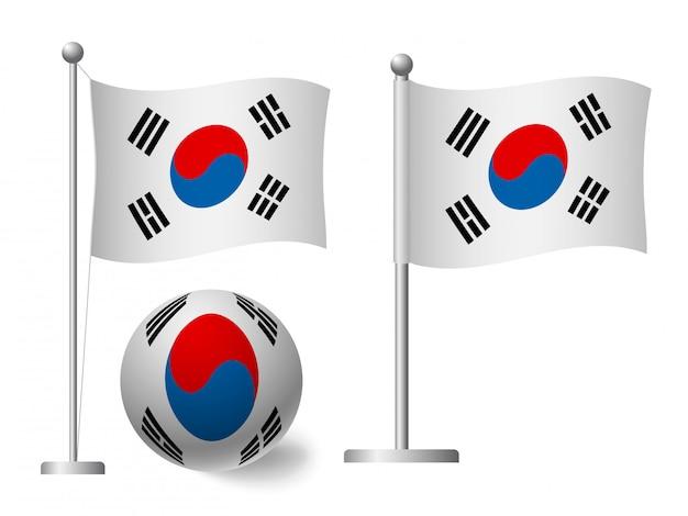 Флаг южной кореи на значок полюса и мяча