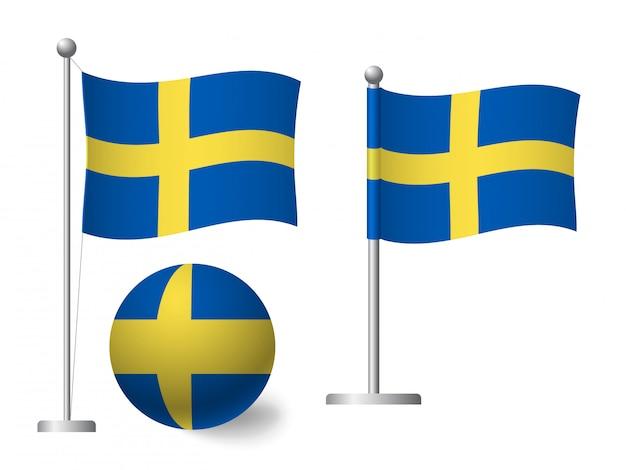Флаг швеции на значок полюса и мяча