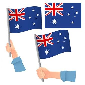 オーストラリアの旗を手にセット