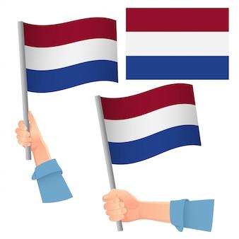 オランダの旗を手にセット