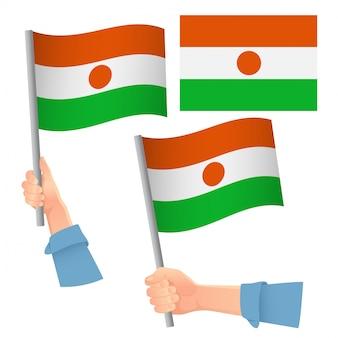 ニジェールの旗を手にセット
