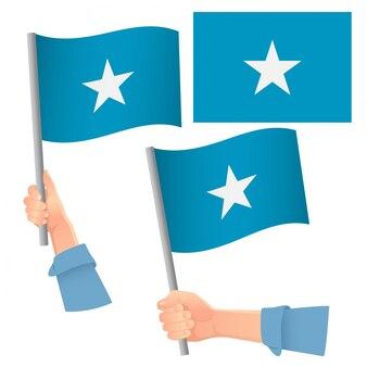 手のセットでソマリアの旗