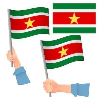 ハンドセットのスリナムの旗