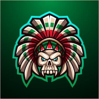 トライバルスカルヘッドマスコットロゴ
