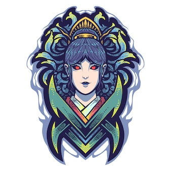 Логотип талисмана головы гейши