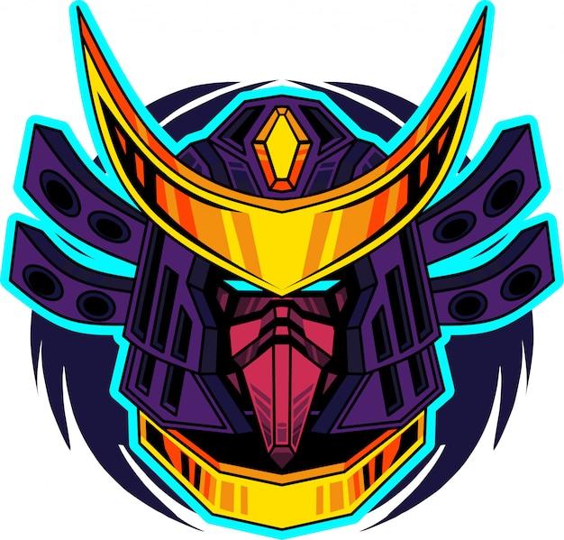 Самурай голова талисман логотип