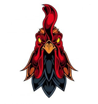 オンドリの頭のマスコットのロゴ