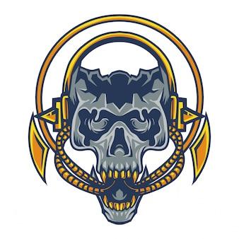 ヘッドフォンマスコットロゴと日頭蓋骨頭
