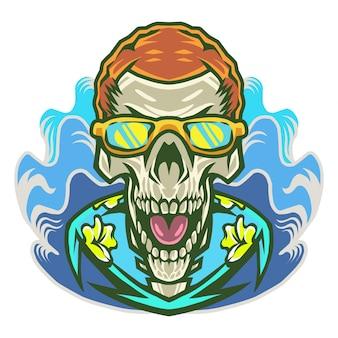 頭蓋骨頭とメガネマスコットロゴ