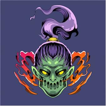 Логотип талисмана головы зомби