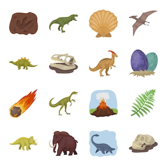 恐竜ベクトル要素のセット。恐竜と他の古代世界の属性のイラスト。