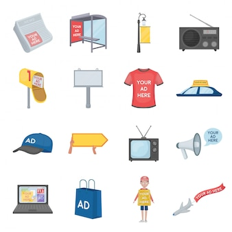 Рекламный мультфильм установить значок. иллюстрация социальной рекламы. изолированное знамя значка шаржа установленное.