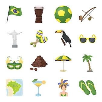 Страна бразилия изолированных мультфильм установить значок. иллюстрация путешествия на бразильском. мультфильм набор значок страна бразилия.