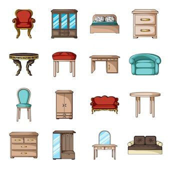 Домашний интерьер мультфильм установить значок. изолированная мебель шаржа установленная значком. иллюстрация интерьер мебели.