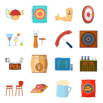 Пиво в пабе мультфильм установить значок. иллюстрация старинные бар. изолированные мультфильм набор значок пиво паба.
