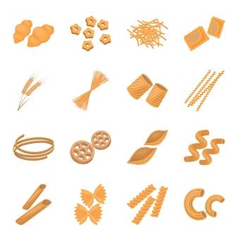 食べ物イラストのパスタ。イタリアのマカロニ漫画セットアイコン。分離された漫画セットアイコンイタリアのパスタ。