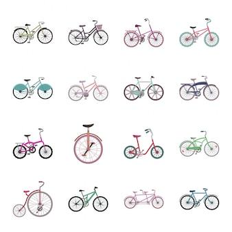 Набор иконок различных велосипедов мультфильм. велосипед иллюстрации. изолированный мультфильм набор значок другой велосипед.