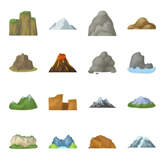 山漫画は、アイコンを設定します。イラスト風景。孤立した漫画は、アイコンの山を設定します。
