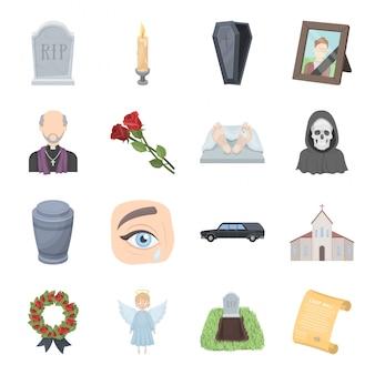 葬儀サービス漫画のアイコンを設定します。キリスト教の儀式分離漫画セットアイコン。イラスト葬儀。