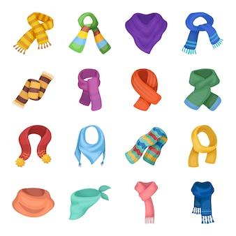 Шарф и платок мультфильм установить значок. платок изолированные мультфильм установить значок. иллюстрация шарф и шаль.