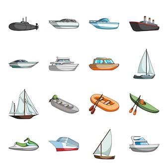 Водный транспорт мультфильм установить значок. иллюстрация морское судно. изолированные мультфильм набор значок водного транспорта.