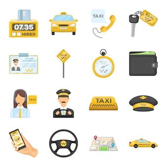 Такси мультфильм установить значок. транспортный сервис иллюстрации. изолированные мультфильм набор значок такси.