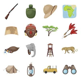 アフリカのサファリ漫画は、アイコンを設定します。動物孤立した漫画は、アフリカのサファリのアイコンを設定します。