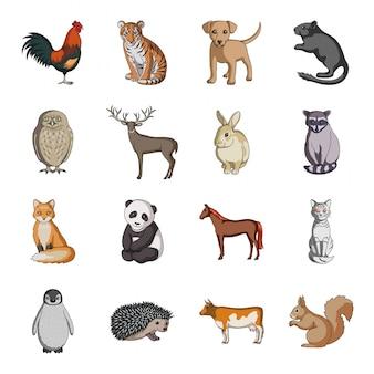 Мультфильм животных установить значок. изолированный шарж установил значок зоопарк и ферму. животное