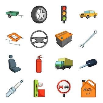 Автомобиль мультфильм установить значок. изолированный мультфильм набор значок автомобильного транспорта. машина .