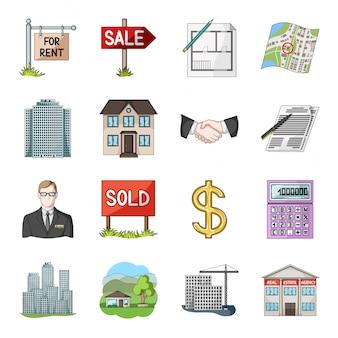 ラルトール漫画セットアイコン。孤立した漫画は、アパートの家をアイコンを設定します。不動産業者。