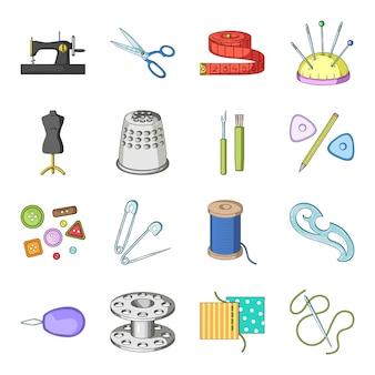 Петь инструмент мультфильм установить значок. модный портной. изолированный инструмент шаржа установленный значком шить.