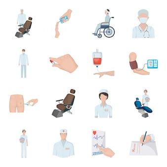 Медицина мультфильм установить значок. медицинский медицина значок набор изолированных мультфильм.