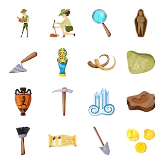 考古学漫画のアイコンを設定します。古代のアーティファクト。孤立した漫画は、アイコン考古学を設定します。