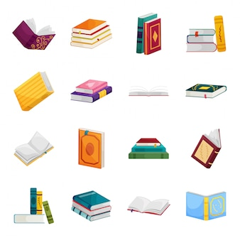 Книга библиотеки мультфильм установить значок. изолированные мультфильм набор иконок школьной литературы. книга библиотеки.